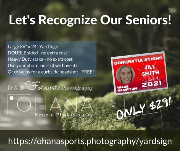 Best Senior Yard Sign Upstate SC OHANA Sports Photography